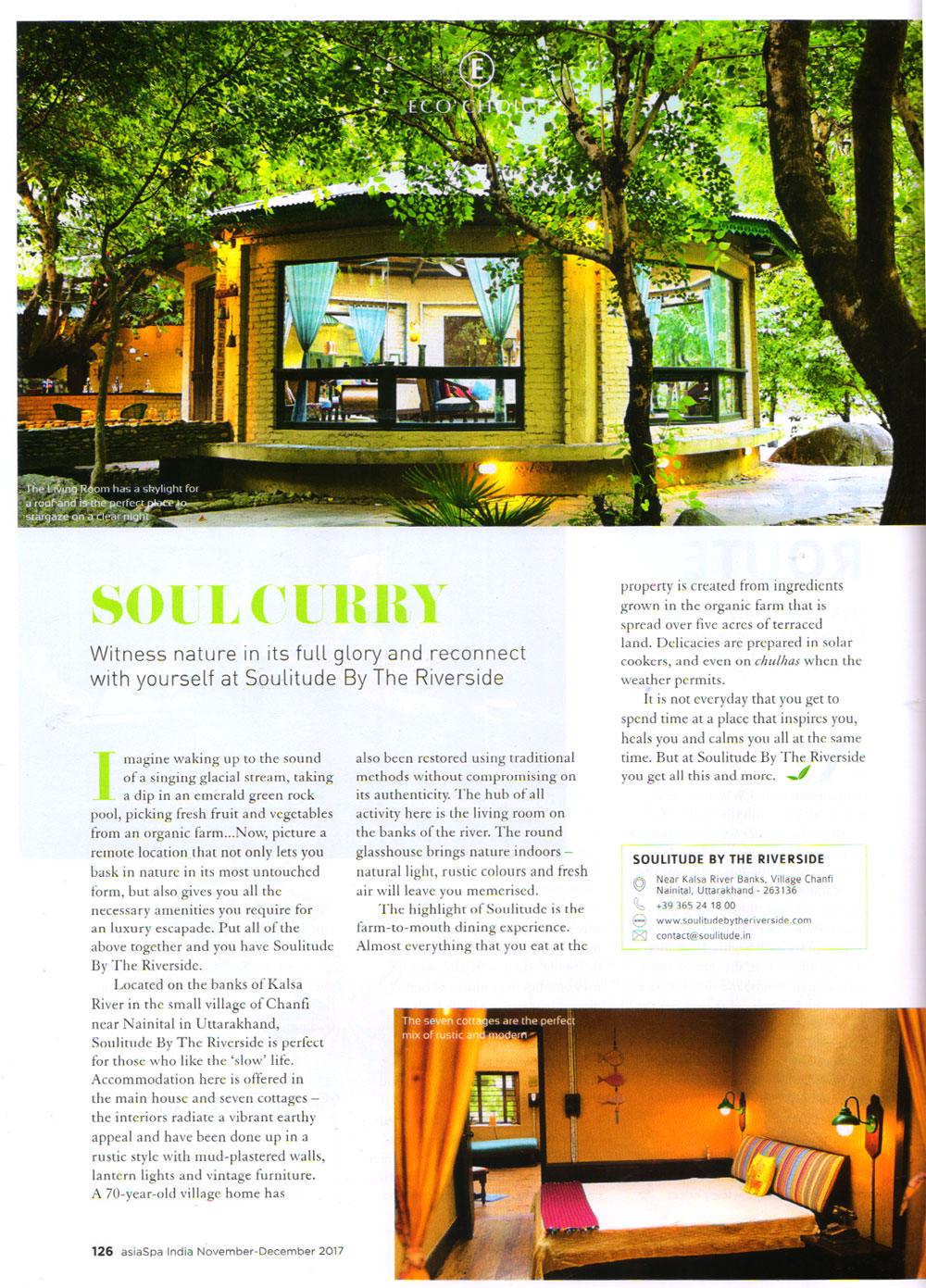 Soulitude featured on asiaSpa India Magazine
